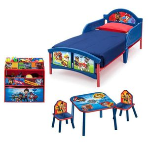 PAT PATROUILLE Pack Chambre enfant Compl?te avec Lit, Meuble de Rangement, Table et 2 Chaises
