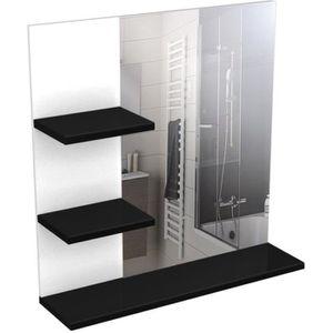 CORAIL Meuble miroir de salle de bain 60 cm - Noir Haute Brillance