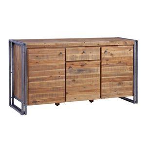 Buffet industriel en métal et MDF plaqué bois pin acacia - L 150 cm