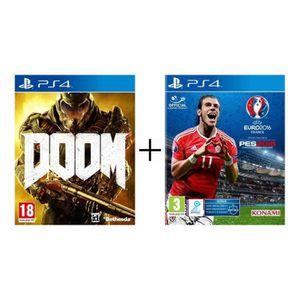 Le pack contient : - le jeu Doom sur PS4 - le jeu Euro 2016 sur PS4