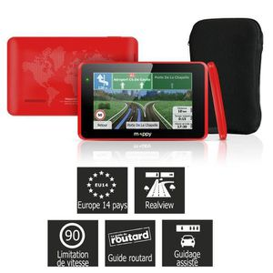 MAPPY ITI E428 rouge GPS 43 14 pays Cartes gratuites a vie Housse