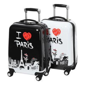 CITY BAG Set de 2 Valises Cabine Rigide ABS et Polycarbonate 4 Roues 48cm LOVEPARIS Noir et Blanc