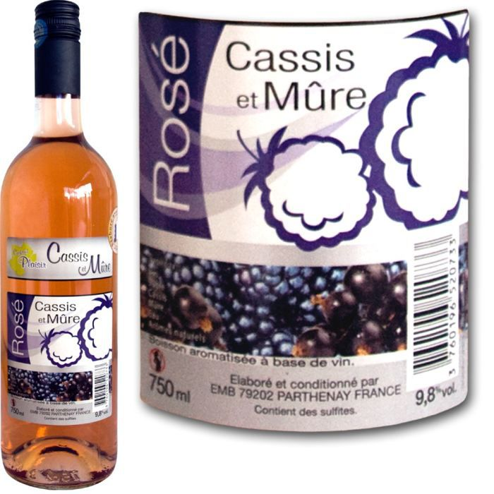 Vin rosé aromatisé cassis mûre V & FRUITS, 9.8°, 75cl