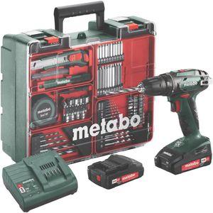 METABO Perceuse visseuse avec 2 batteries 18 V 2 Ah Li-ion et un coffret de 73 accessoires