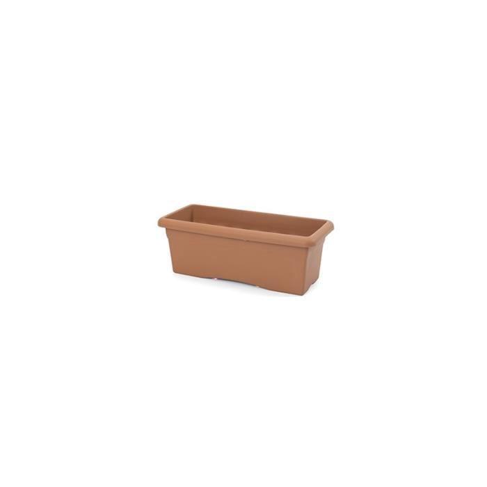 jardini re rectangulaire soucoupe r sine plastique couleur terracotta longueur 60 cm. Black Bedroom Furniture Sets. Home Design Ideas