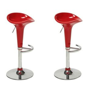 POP Lot de 2 tabourets de bar réglables Rouge