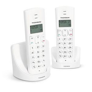 Thomson Amber Duo Téléphone Sans Fil Sans Répondeur Blanc