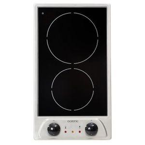OCEANIC TV2ZIX Table de cuisson domino vitrocéramique 2 zones L29xP51cm Rev?tement verre-Noir et ino