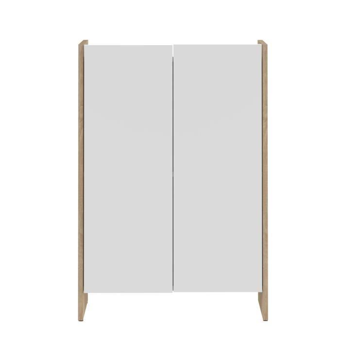 Pure meuble bas de salle de bain 60cm d cor ch ne et for Meuble bas salle de bain 2 portes