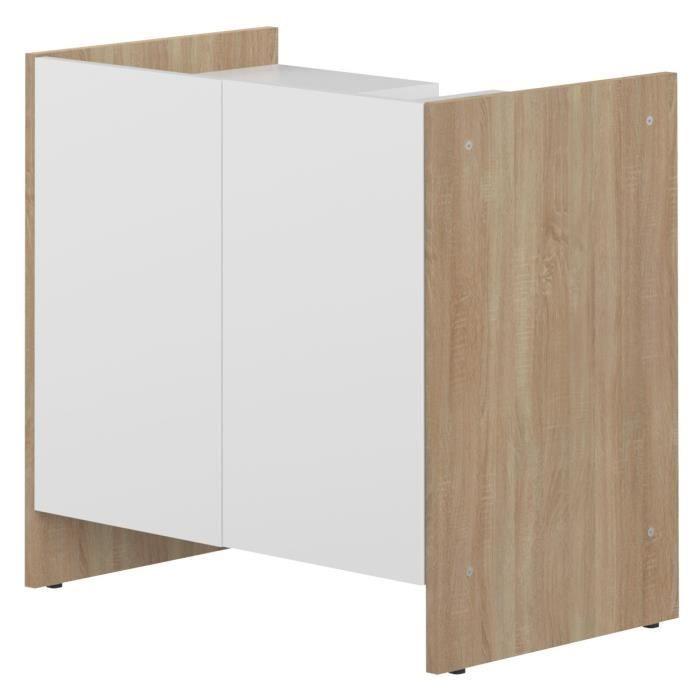 Pure meuble sous lavabo 60 cm d cor ch ne naturel et for Meuble sous lavabo une porte
