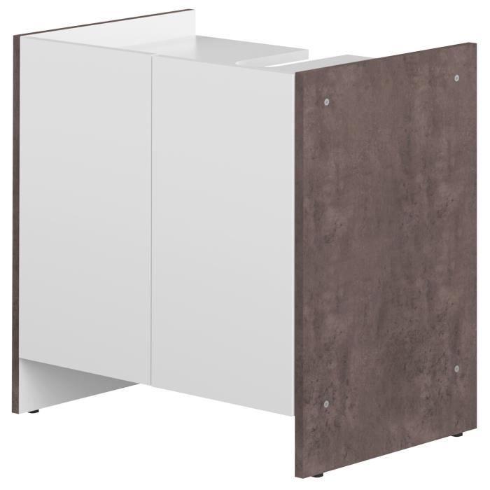 Pure meuble sous lavabo 2 portes b ton et blanc 60x59 cm for Meuble sous lavabo une porte