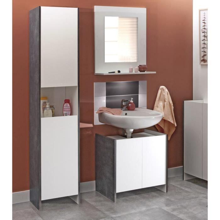 Salle de bain compl te simple vasque d cor b ton et for Achat salle de bain complete