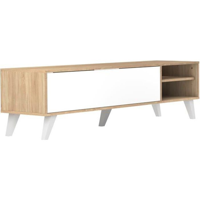 Prism meuble tv scandinave m lamin d cor ch ne et blanc for Meuble bas tele