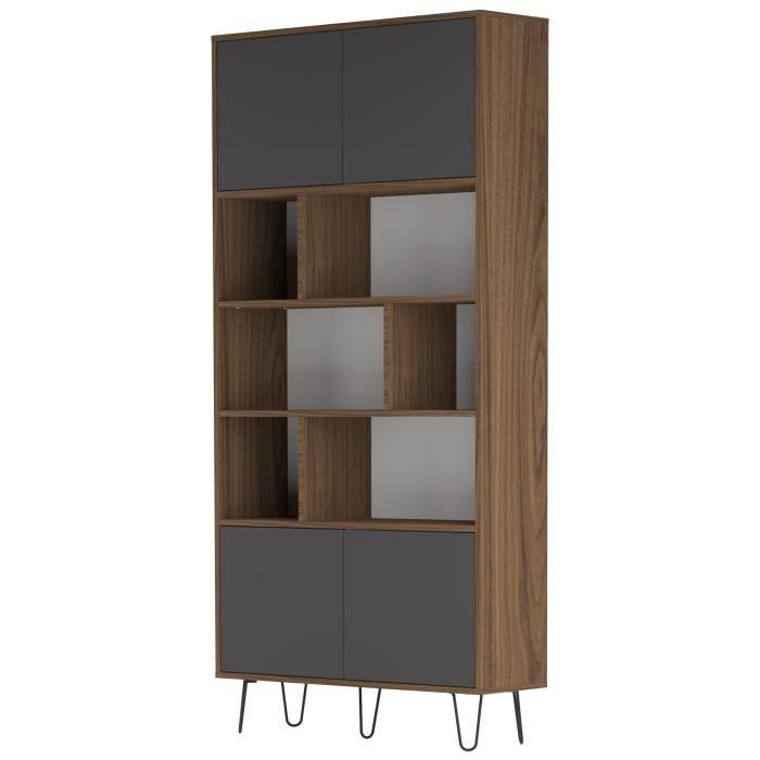 aero biblioth que vintage 90x28 cm d cor noyer et gris anthracite achat vente biblioth que. Black Bedroom Furniture Sets. Home Design Ideas