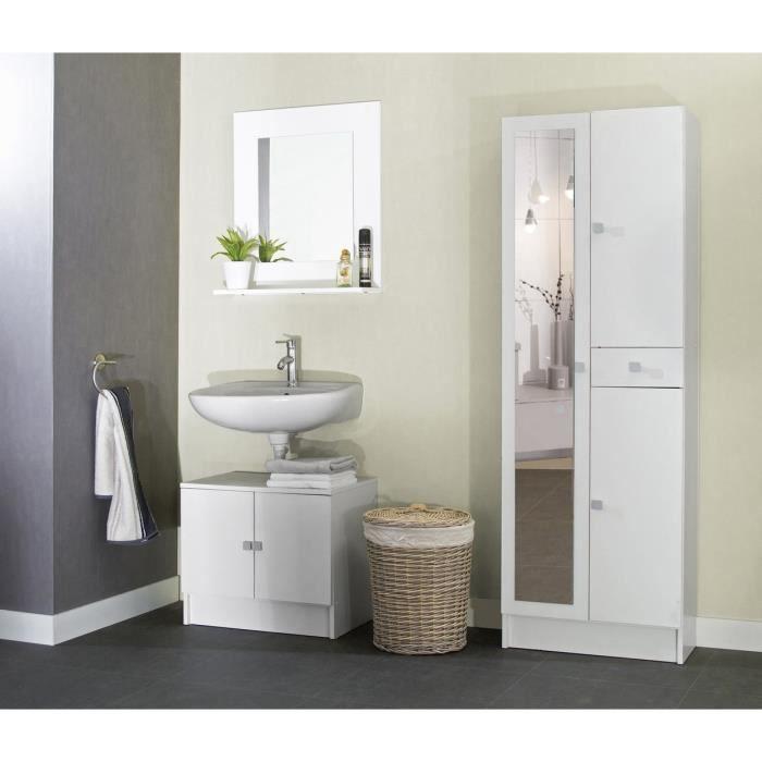 Tosca armoire de salle de bain avec miroir 60 cm blanc for Armoire salle de bain blanc