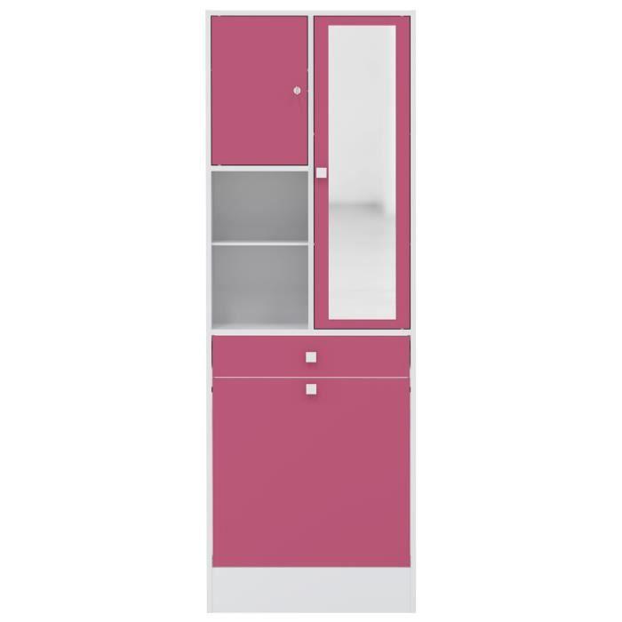 Galet armoire bac linge 63x181 cm blanc et fuchsia for Colonne salle de bain largeur 20 cm