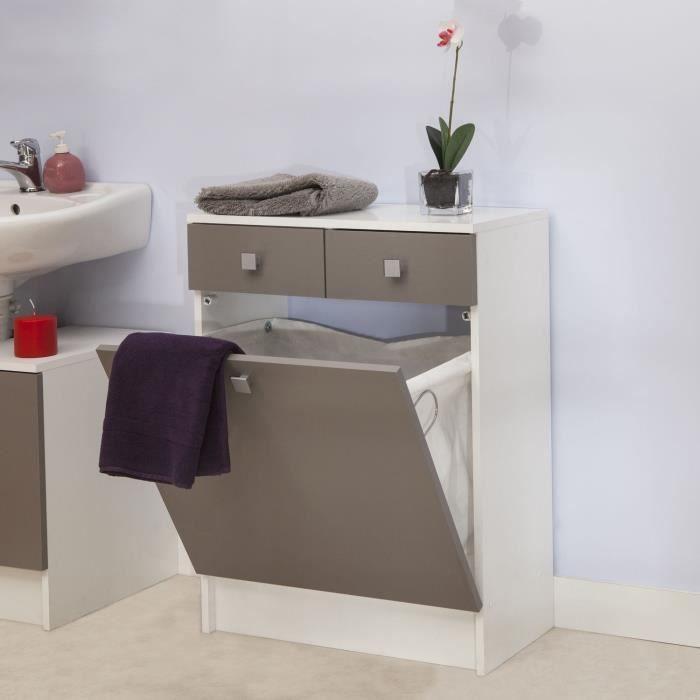 Bas de salle de bain 2 tiroirs et bac linge achat for Element salle de bain