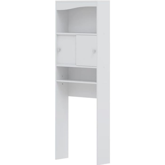 Meuble galet wc machine laver blanc achat vente for Meuble wc blanc
