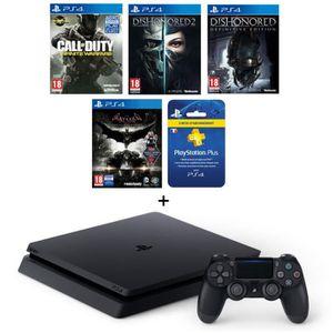 CONSOLE PS4 NOUVEAUTÉ Nouvelle PS4 Slim Noire 500 Go + 4 Jeux : Dishonor