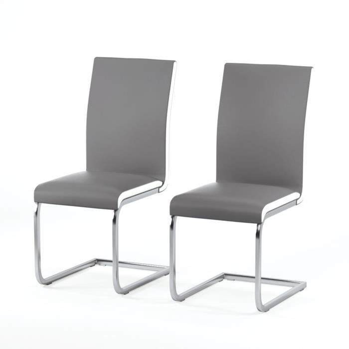 Lea lot de 2 chaises de salle manger blanc et gris for Chaise blanche salle a manger