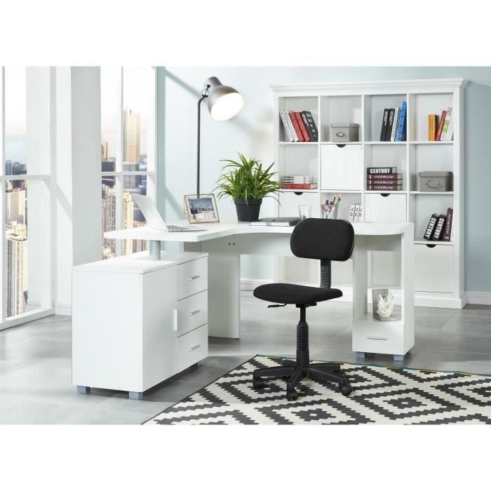 saga bureau d 39 angle 140 cm blanc achat vente bureau saga bureau d 39 angle cdiscount. Black Bedroom Furniture Sets. Home Design Ideas