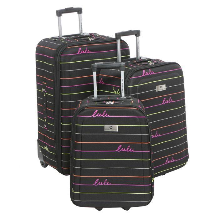 lulu castagnette set de 3 valises noir achat vente set de valises lulu castagnette 3 valises. Black Bedroom Furniture Sets. Home Design Ideas