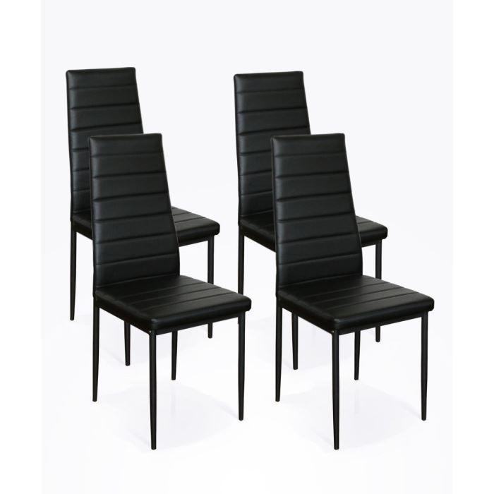Lot de 4 chaises phil noires achat vente chaise rev tement pvc - Lot de 4 chaises noires ...