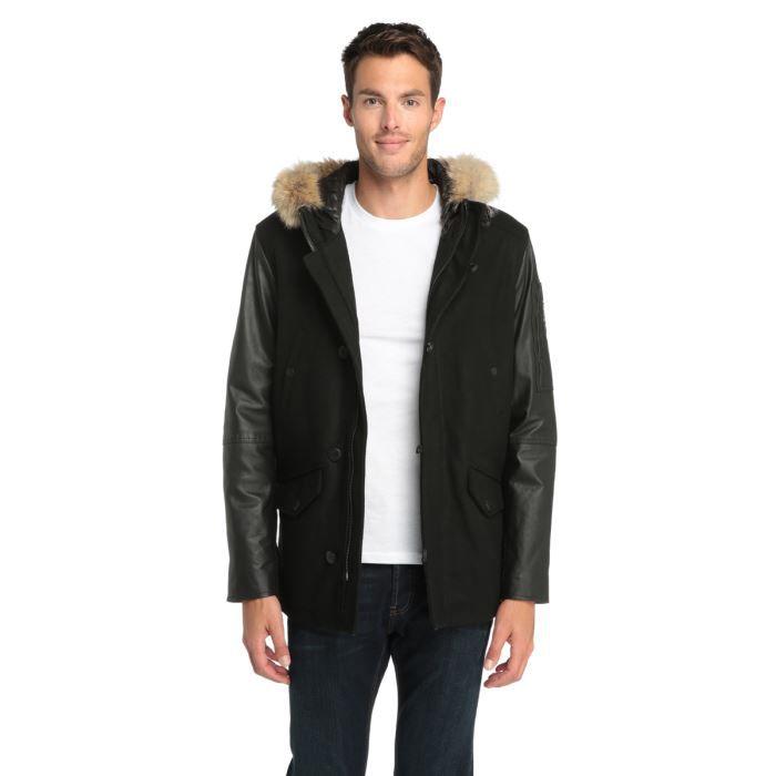 redskins manteau en cuir homme noir achat vente manteau caban cdiscount. Black Bedroom Furniture Sets. Home Design Ideas