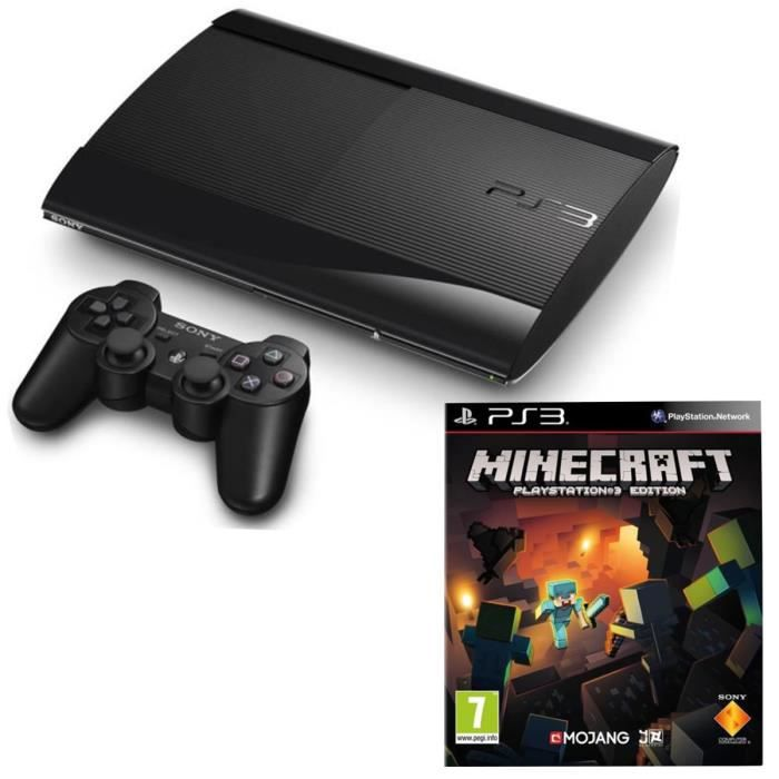pack console ps3 12 go ultra slim jeu minecraft achat vente console ps3 pack ps3 ultra. Black Bedroom Furniture Sets. Home Design Ideas