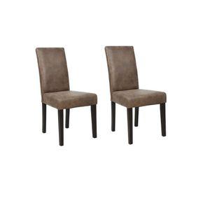 CHAISE ALBUS Lot de 2 Chaises de salle à manger - Marron