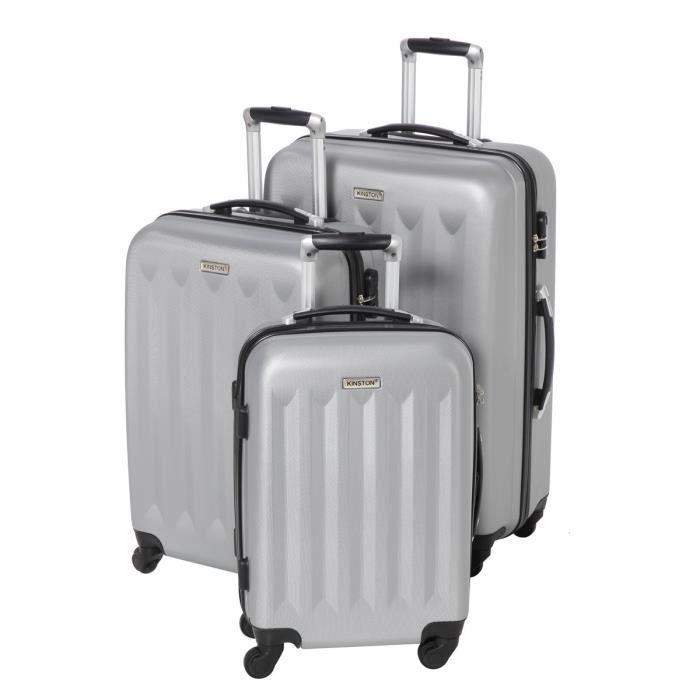 kinston set de 3 valises trolley 4 roues gris clair achat vente set de valises 3661611504539. Black Bedroom Furniture Sets. Home Design Ideas