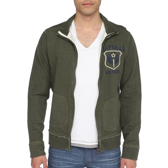kaporal veste sweat zipp e homme kaki beige et marine achat vente sweatshirt soldes d. Black Bedroom Furniture Sets. Home Design Ideas