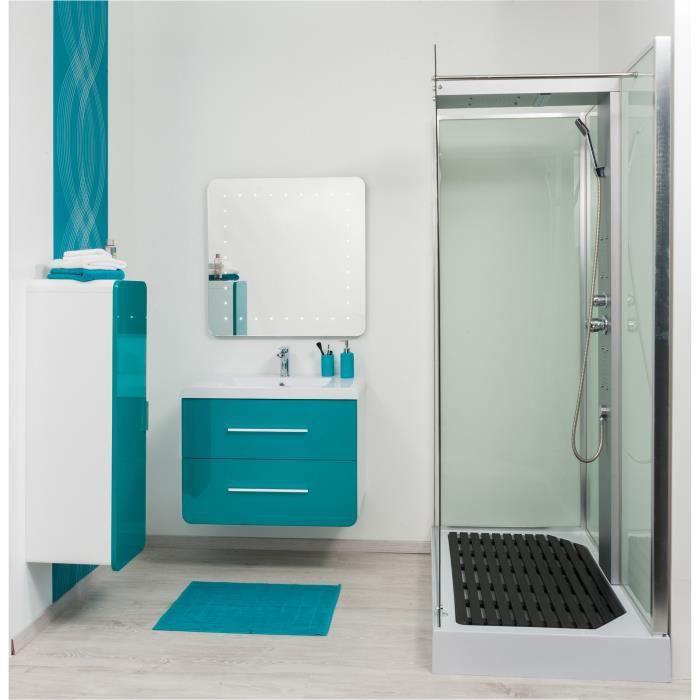 gino salle de bain complète en bois simple vasque 81 cm - bleu ... - Meuble Salle De Bain Bleu Turquoise