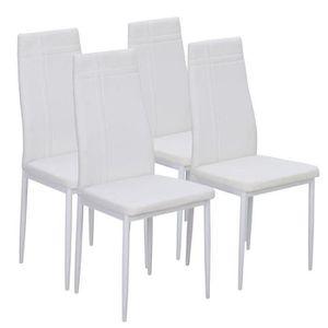 lot de 4 chaises de salle a manger blanche - achat / vente lot de ... - Chaise De Salle A Manger Blanche
