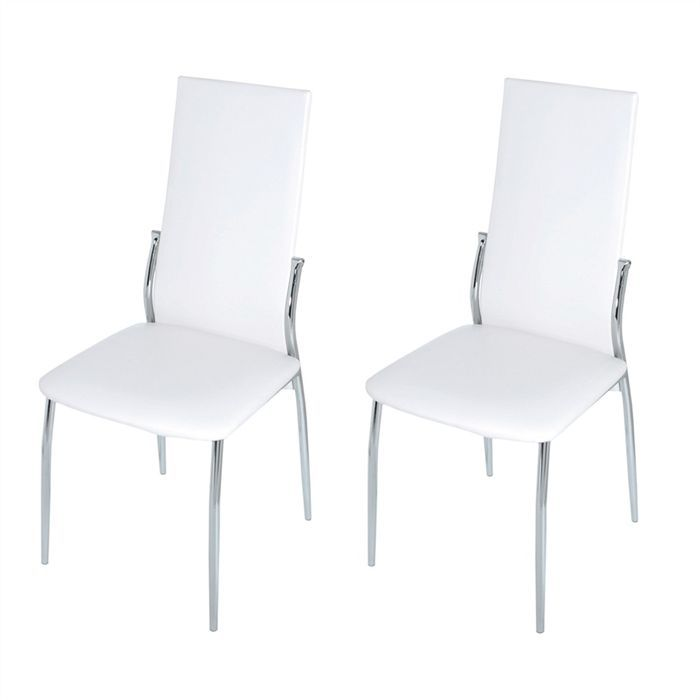 lot de 2 chaises blanches bianca achat vente chaise. Black Bedroom Furniture Sets. Home Design Ideas