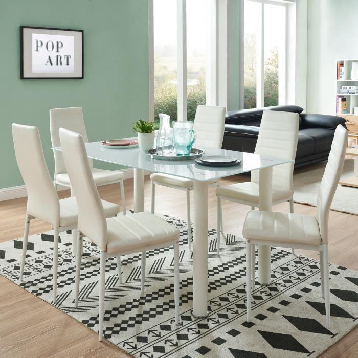 belair ensemble table manger 4 6 personnes contemporain en m tal avec plateau en verre 6. Black Bedroom Furniture Sets. Home Design Ideas
