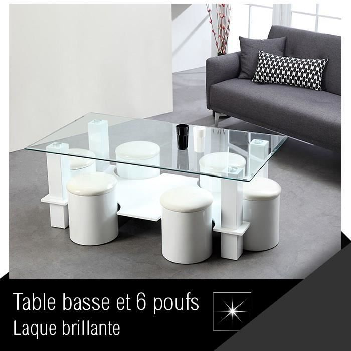 bodega table basse 6 poufs 130 cm blanc achat vente table basse bodega table basse 6