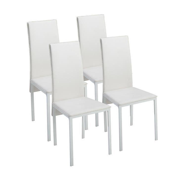 Elisa lot de 4 chaises de salle manger en simili blanc for Lot 4 chaises salle manger