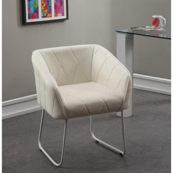 Jetset chaise de salle manger blanche achat vente chaise pu cdiscount - Chaise blanche de salle a manger ...