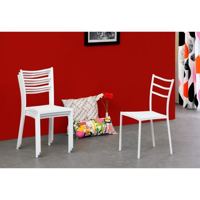 Kitty lot 4 chaises blanches achat vente chaise m tal cdiscount - Lot 4 chaises blanches ...