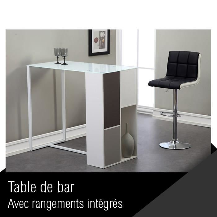 Mozaic table de bar 120 cm laque blanc verre achat vente mange debout m - Table bar blanc laque ...