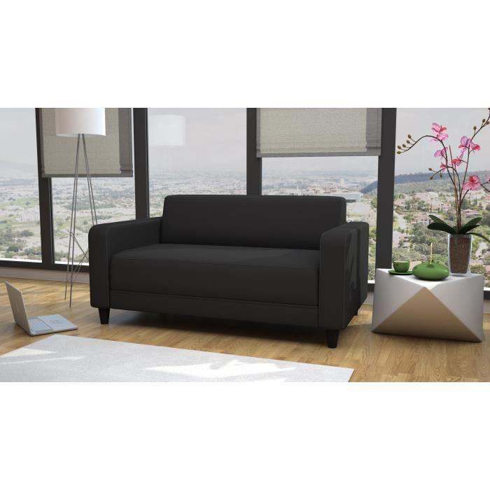 firr canap droit convertible lit 2 places tissu gris fonc achat vente canap sofa. Black Bedroom Furniture Sets. Home Design Ideas