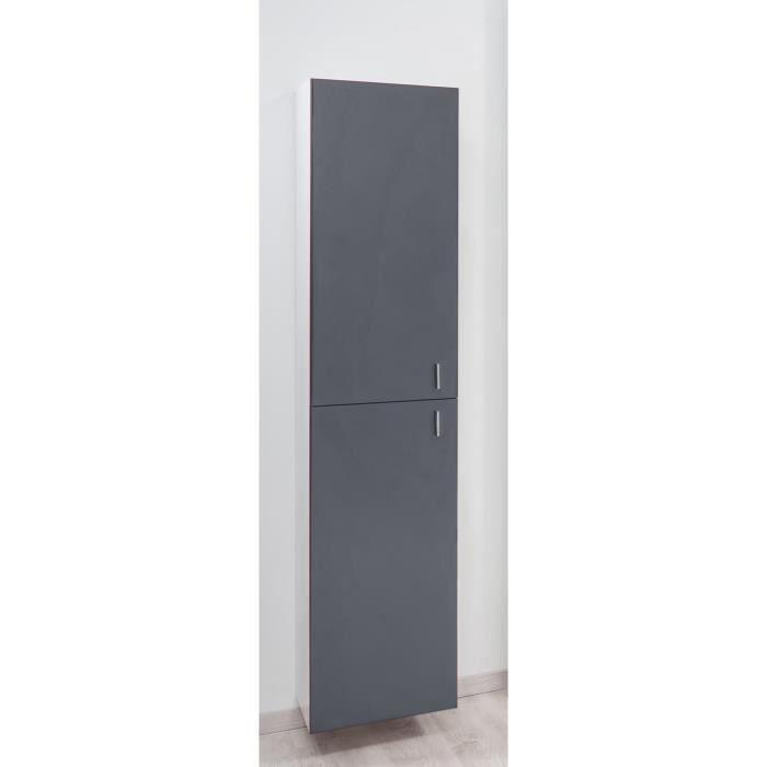 Modulo colonne de salle de bain en bois 39 cm ardoise et blanc achat vente colonne for Colonne salle de bain bois