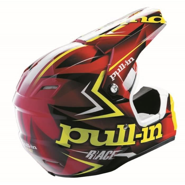 pull in casque cross flash rouge jaune fluo achat vente casque moto scooter casque cross. Black Bedroom Furniture Sets. Home Design Ideas