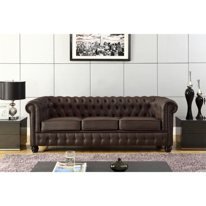 chesterfield canap en cuir et simili 3 places 213x88x75 cm marron achat vente canap. Black Bedroom Furniture Sets. Home Design Ideas