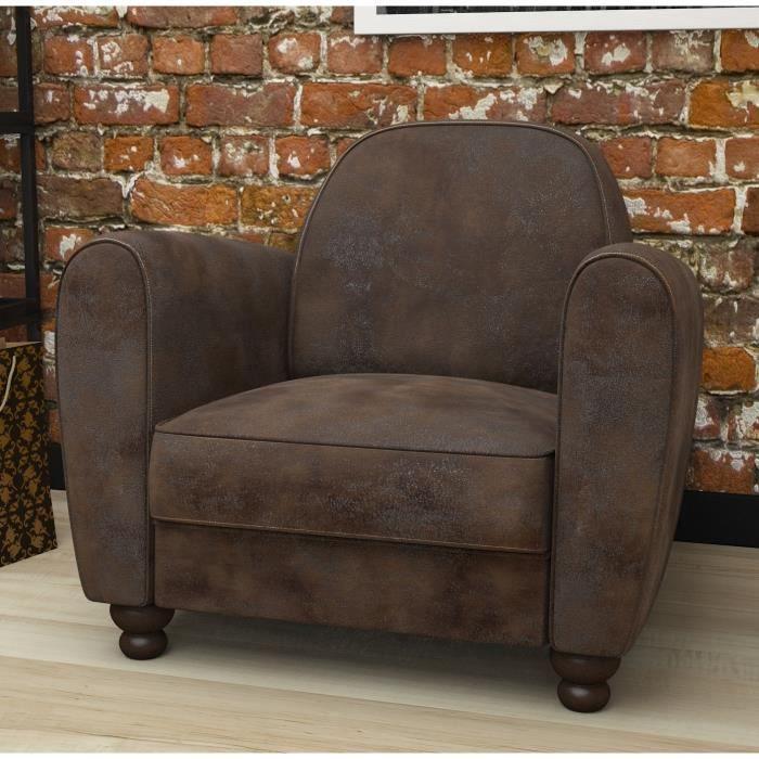 Clamm fauteuil club marron achat vente fauteuil rev tement tissu toil - Soldes fauteuil club ...