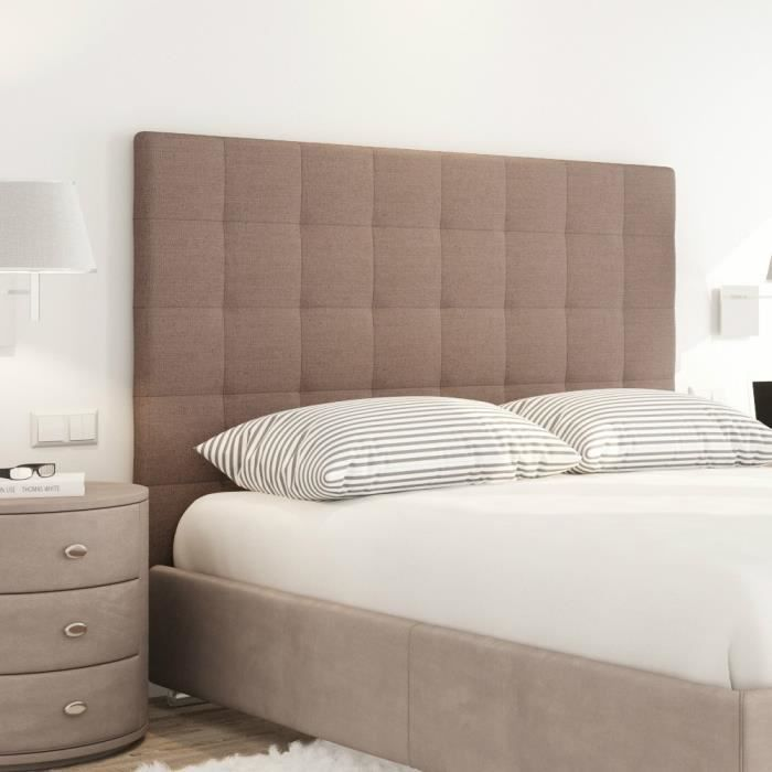 sogno t te de lit capitonn e style contemporain tissu marron l 180 cm achat vente t te. Black Bedroom Furniture Sets. Home Design Ideas