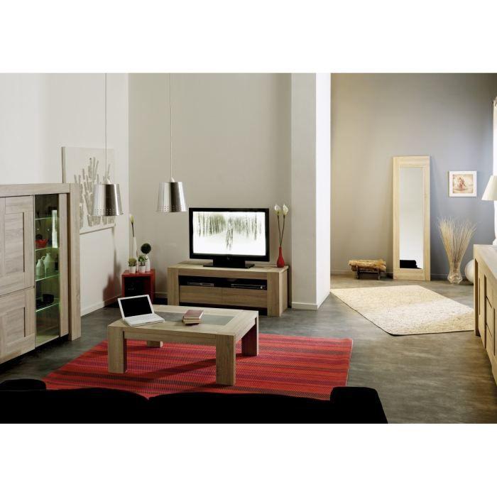 mathias salon complet coloris ch ne et gris 3 pi ces 1 meuble tv 1 table basse 1 argentier. Black Bedroom Furniture Sets. Home Design Ideas
