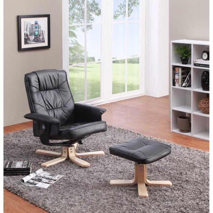 Grace fauteuil massant de relaxation cuir et pu achat vente fauteuil noir - Fauteuil relax et massant ...