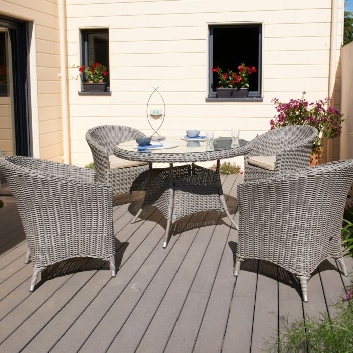 Isa table de jardin ronde en r sine tress e luxe achat vente table de jar - Table ronde en resine tressee ...